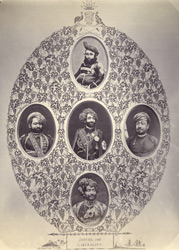 [Five vignettes of Junagadh Nawab's and state officials.]